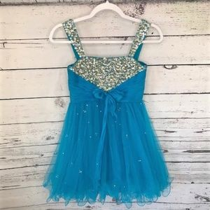 Sherri Hill blue bedazzled party flare dress 12